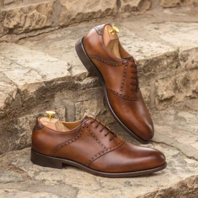 Custom Made Saddle Shoes in Medium Brown Painted Calf, Tan Calf Leather and Brown Croco