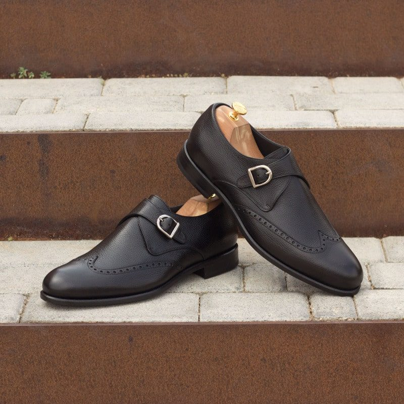 Custom Made Single Monks in Black Painted Full Grain Leather