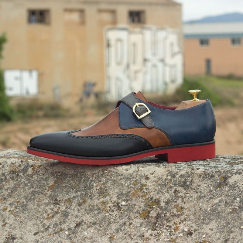 Custom Made Single Monks in Cognac, Grey, Black and Navy Blue Painted Calf
