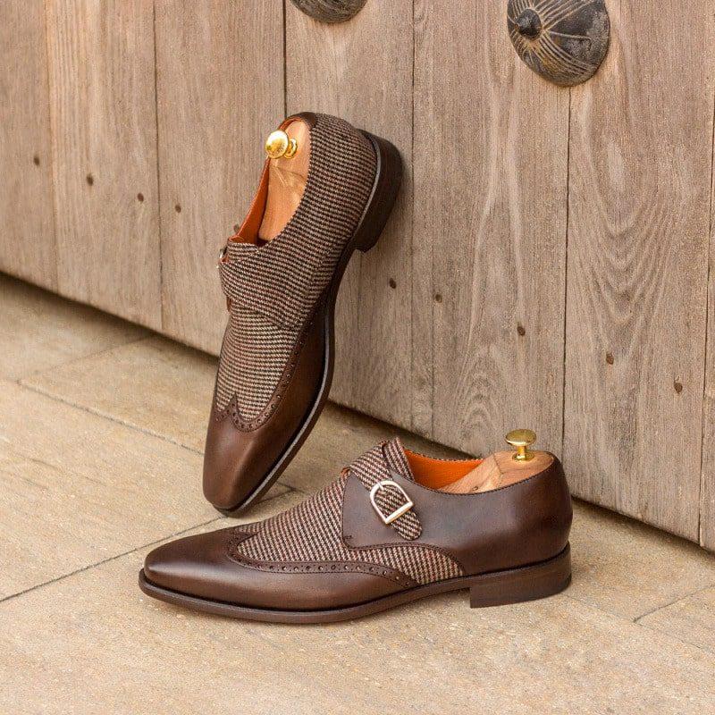 Custom Made Single Monks in Dark Brown Painted Calf Leather with Tweed