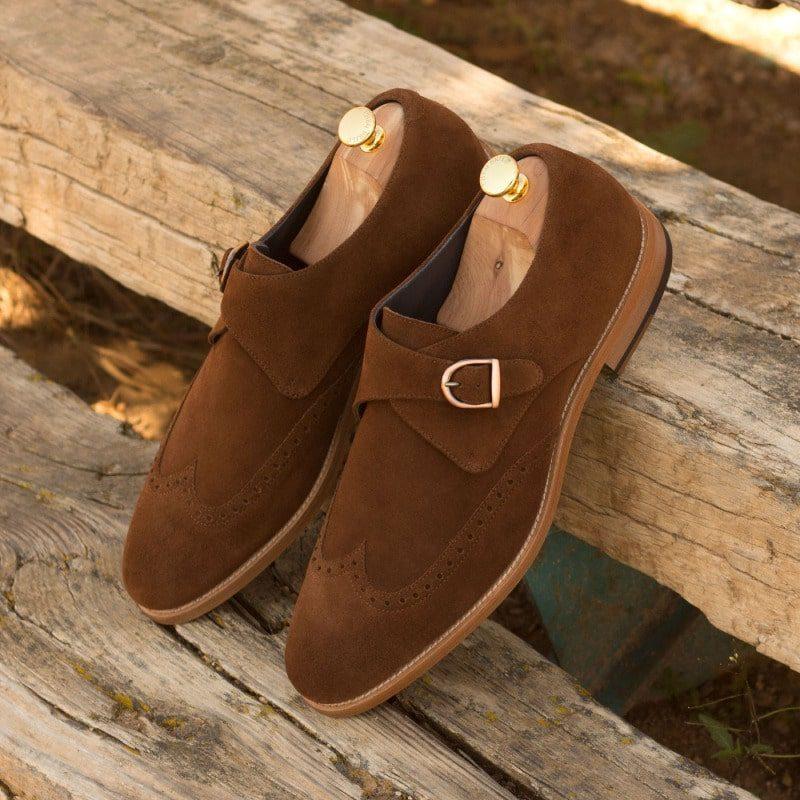 Custom Made Single Monks in Medium Brown Luxe Suede