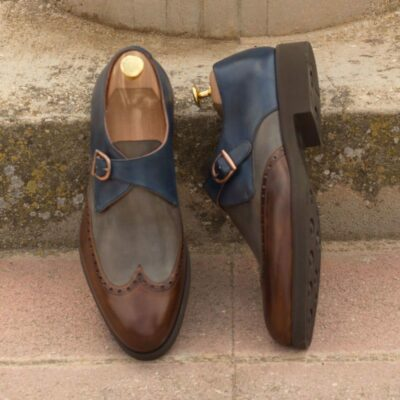 Custom Made Single Monks in Medium Brown, Navy Blue and Grey Painted Calf