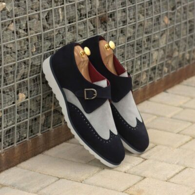 Custom Made Single Monks in Navy Blue Luxe Suede and Light Grey Kid Suede