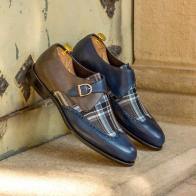 Custom Made Single Monks in Navy Blue and Grey Painted Calf with Plaid