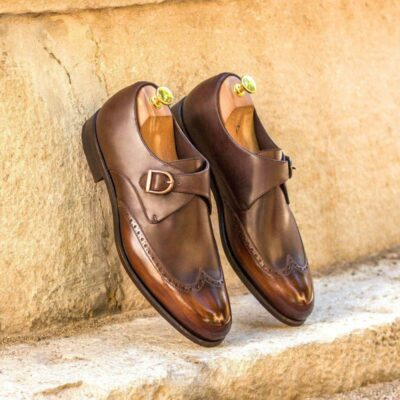 Custom Made Single Monks in Raw Crust Italian Calf Leather with Brown Hand Patina and Dark Brown Painted Calf