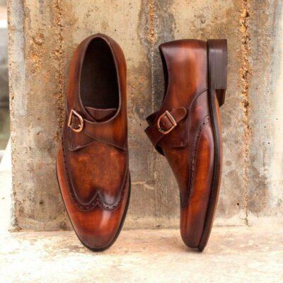Custom Made Single Monks in Raw Crust Italian Calf Leather with Cognac Hand Patina