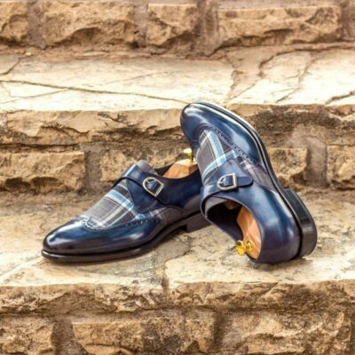 Custom Made Single Monks in Raw Crust Italian Calf Leather with Denim Hand Patina with Plaid Sartorial