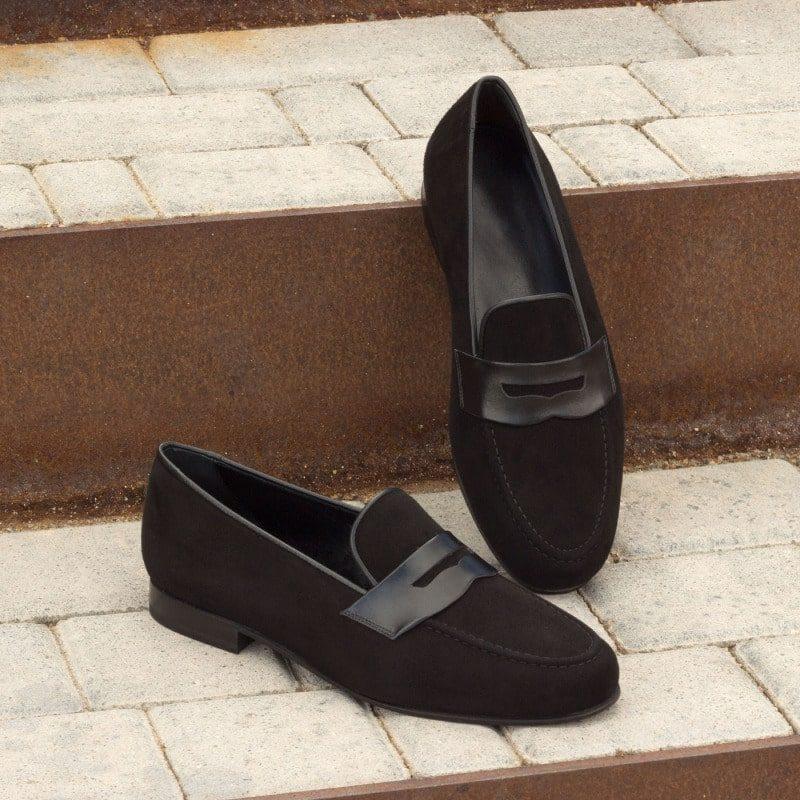 Custom Made Wellington Slippers in Black Suede