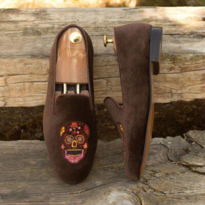 Custom Made Wellington Slippers in Brown Velvet