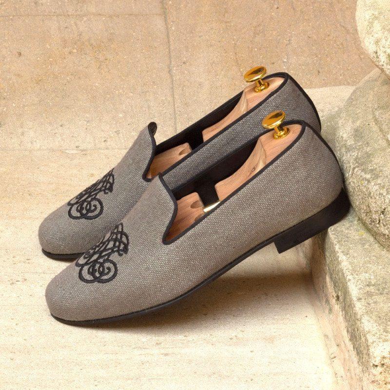 Custom Made Wellington Slippers in Grey Linen with Black Grosgrain