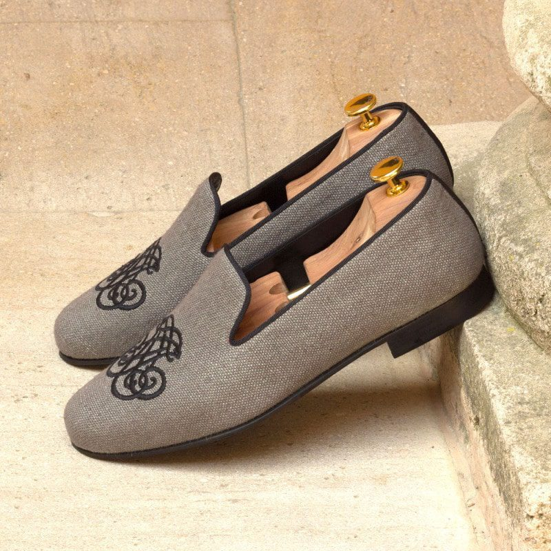 Custom Made Wellington Slippers in Grey Linen with Black Grosgrain
