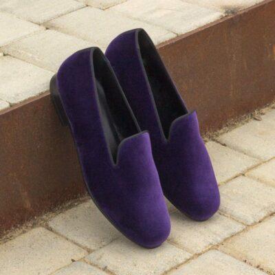 Custom Made Wellington Slippers in Purple Velvet and Black Grosgrain