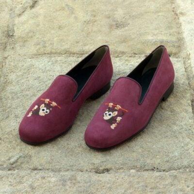 Custom Made Wellington Slippers in Wine Suede