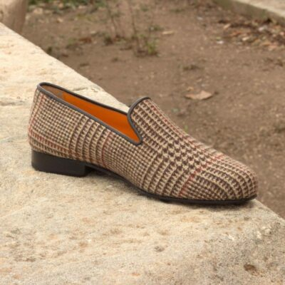 Custom Made Wellington Slippers in Wool Tweed with Brown Calf Leather