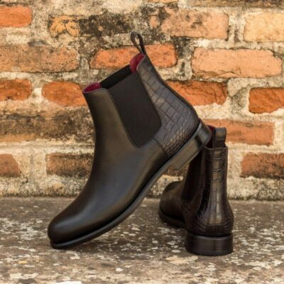 Custom Made Women's Chelsea Boot in Black Croco Embossed and Black Painted Calf Leather
