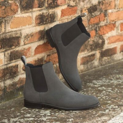 Custom Made Women's Chelsea Boot in Grey Luxe Suede and Polished Calf Leather