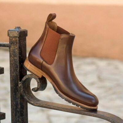 Custom Made Women's Chelsea Boot in Medium Brown Polished Calf Leather