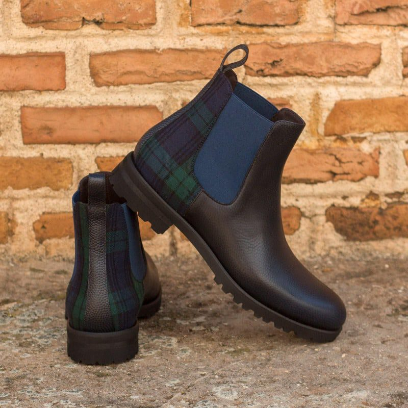 Custom Made Women's Chelsea Boot in Navy Blue Pebble Grain Leather with Blackwatch