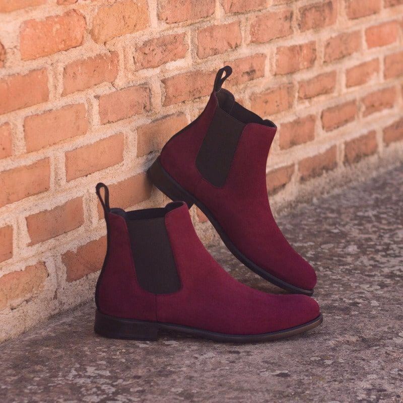 Custom Made Women's Chelsea Boot in Wine and Black Luxe Suede