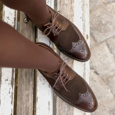 Custom Made Women's Derby Wingtip in Dark Brown Luxe Suede and Painted Calf Leather
