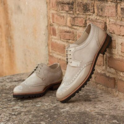 Custom Made Women's Derby Wingtip in Ivory Kid Suede and Beige Patent Leather