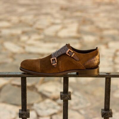 Custom Made Women's Double Monks in Brown Croco Embossed Calf and Medium Brown Luxe Suede