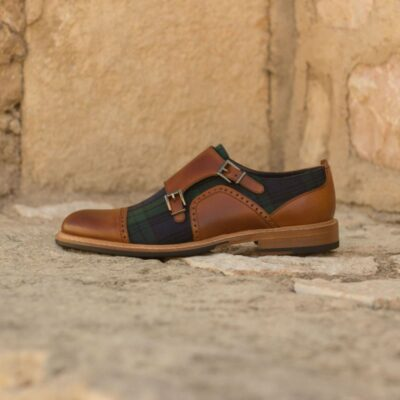 Custom Made Women's Double Monks in Cognac Painted Calf Leather with Blackwatch