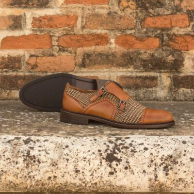 Custom Made Women's Double Monks in Cognac Polished Calf Leather with Tweed