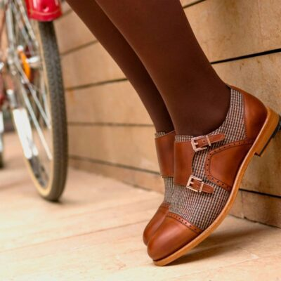 Custom Made Women's Double Monks in Medium Brown Painted Calf Leather with Tweed
