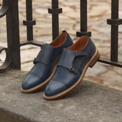 Custom Made Women's Double Monks in Navy Blue Painted Calf Leather