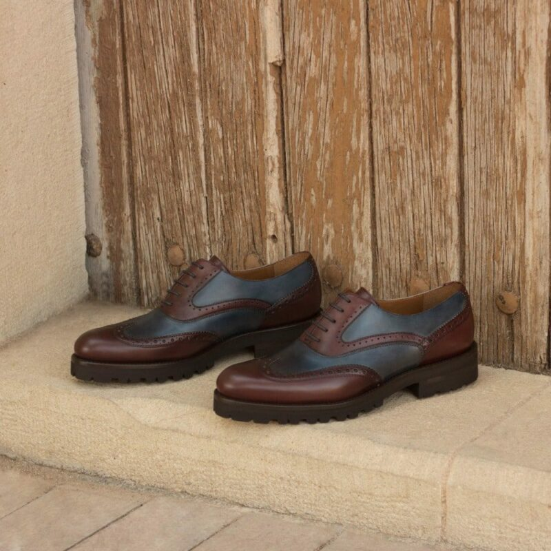 Custom Made Women's Full Brogue in Burgundy and Navy Blue Painted Calf Leather