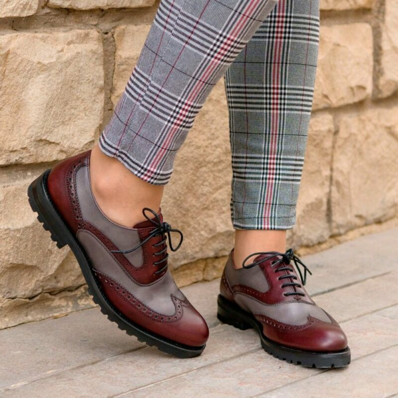 Custom Made Women's Full Brogues in Burgundy and Grey Painted Calf Leather