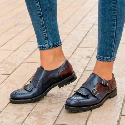 Custom Made Women's Kiltie Monkstrap in Burgundy and Navy Blue Painted Calf Leather