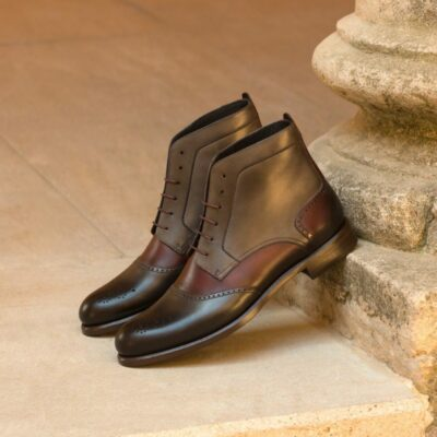Custom Made Women's Lace Up Brogue Boots in Burgundy and Grey Painted Calf Leather