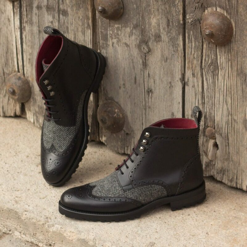 Custom Made Women's Military Brogue Boot in Black Painted Calf with Herringbone