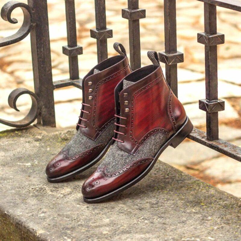 Custom Made Women's Military Brogue Boot in Italian Calf Leather with a Burgundy Hand Patina and Herringbone
