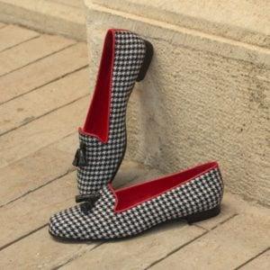Custom Made Women's Rose Slipper in Houndstooth with Black Croco Tassels