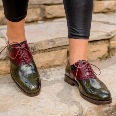 Custom Made Women's Saddle Shoes in Florantic Military Green Polished Calf and Burgundy Polished Calf Leather