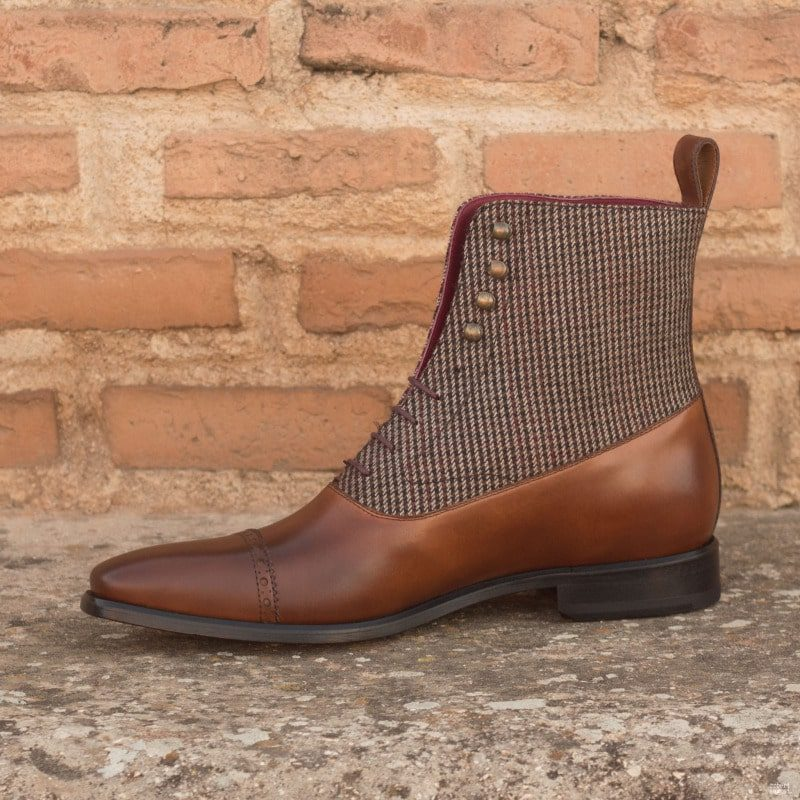 Custom Made Balmoral Boot in Medium and Dark Brown Painted Calf Leather with Tweed