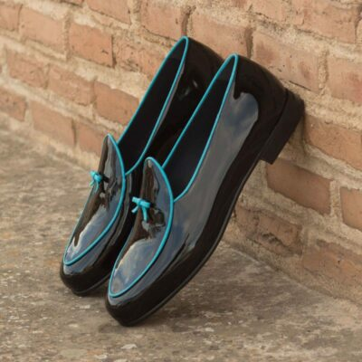 Custom Made Belgian Slippers in Black Patent Leather and Turquoise Calf Leather