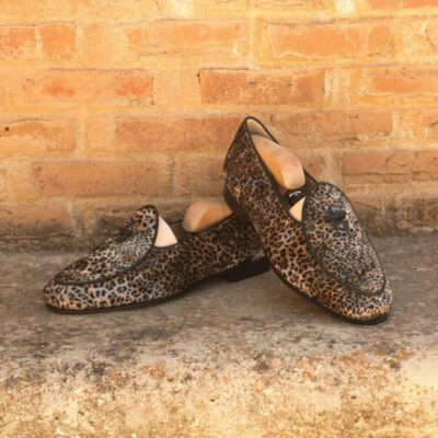 Custom Made Belgian Slippers in Leopard Sartorial with Black Calf Leather
