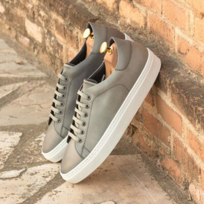 Custom Made Cupsole Trainers in Grey Polished Calf Leather