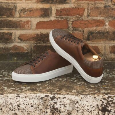 Custom Made Cupsole Trainers in Medium Brown Painted Calf Leather and Tweed