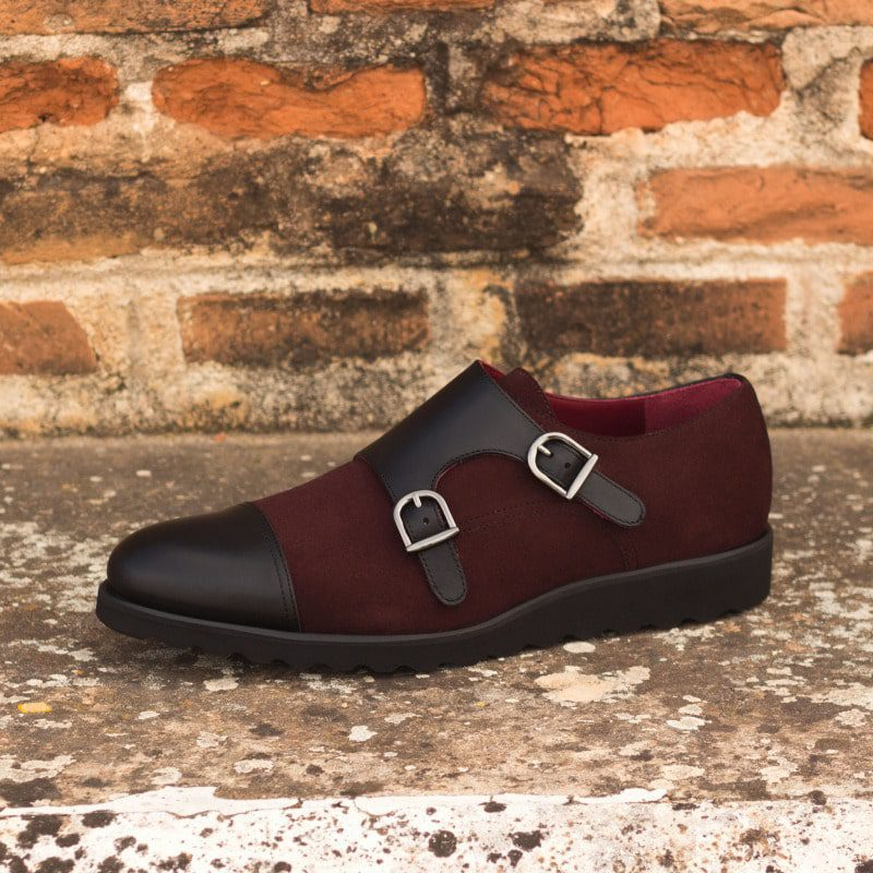 Custom Made Double Monks in Burgundy Luxe Suede and Black Painted Calf Leather