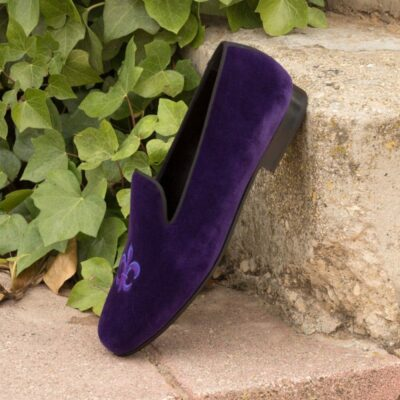 Custom Made Wellington Slippers in Purple Velvet and Black Grossgrain