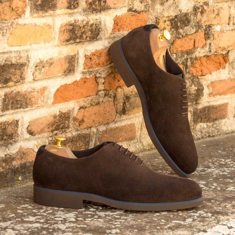 Custom Made Whole Cut Dress Shoes in Dark Brown and Navy Blue Luxe Suede