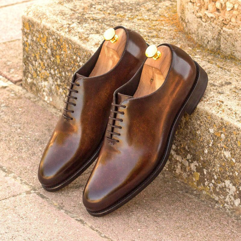 Custom Made Whole Cut Dress Shoes in Raw Crust Italian Leather with a Brown Hand Patina