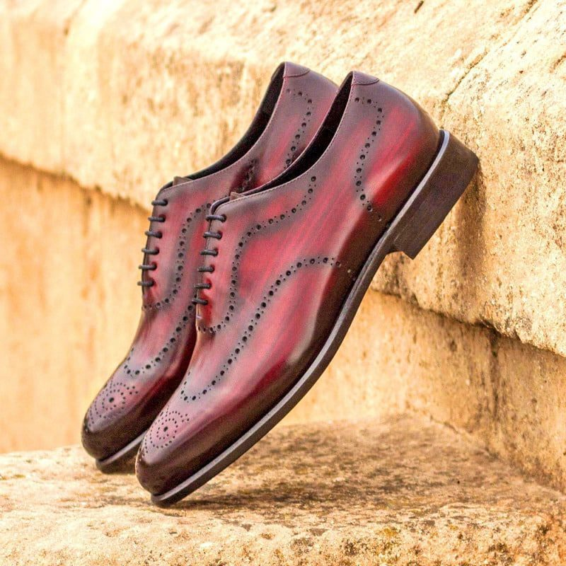Custom Made Whole Cut Dress Shoes in Raw Crust Italian Leather with a Burgundy Hand Patina