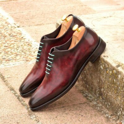 Custom Made Whole Cut Dress Shoes in Raw Crust Italian Leather with a Burgundy and Grey Hand Patina
