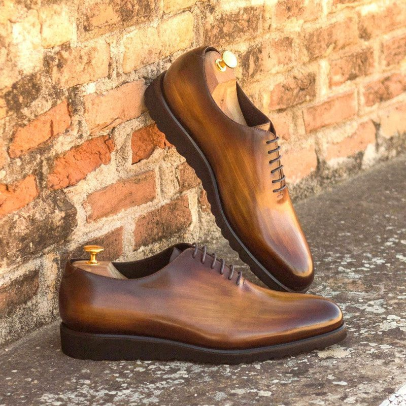Custom Made Whole Cut Dress Shoes in Raw Crust Italian Leather with a Cognac Hand Patina